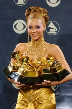 Beyonce with Grammy Awards